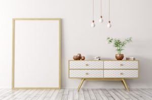 Image of a staged home, prepairing home for sale, chest, mirror