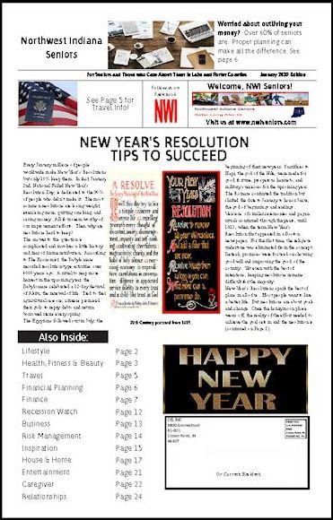 NWI Seniors Newspaper January 2019 Image, information, new years